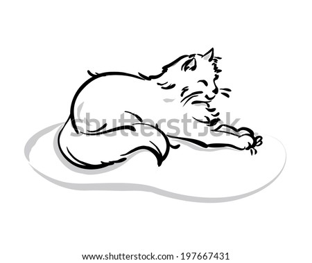 Cute drawing cat. Isolated cartoon animal on white background. vector illustration  - stock vector