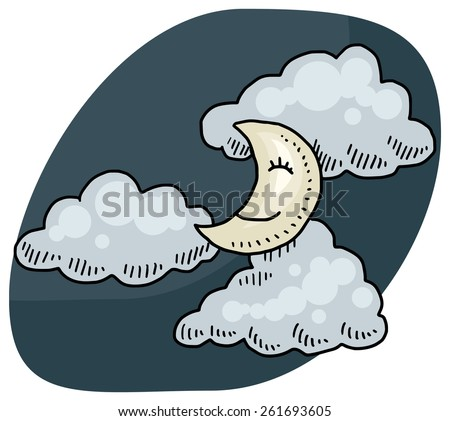 Cute drawing of a moon at night with clouds, vector illustration - stock vector