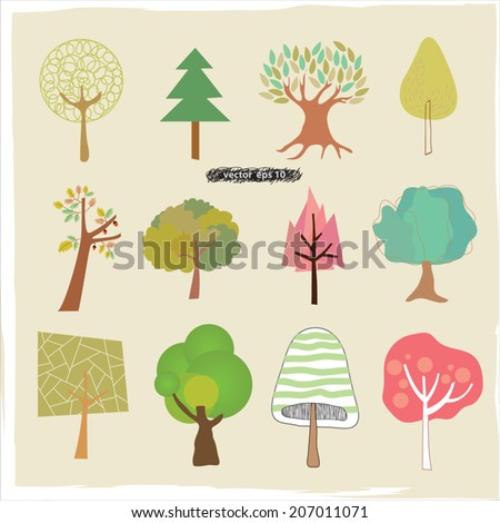 Cute drawing vector tree set autumn stock vector 207011071 for Cute tree drawing