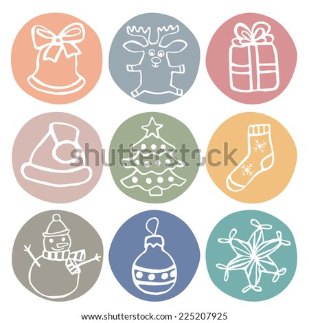 cute drawn by hand chrismas icon set, for chrismas card and background,  vector eps 8  - stock vector