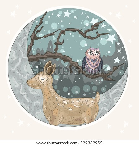Cute dreaming deer background with mountains, tree, owl, moon and stars. Illustration for kids or children. - stock vector