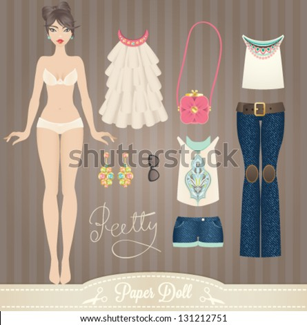 Cute dress up paper doll. Body template, outfit and accessories - stock vector