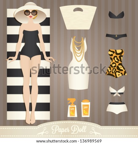 Cute dress up paper doll. Body template, outfit and accessories. Summer collection. - stock vector