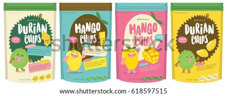 Cute Durian and Mango Fruits Packaging Design Vector