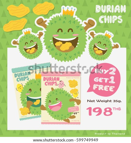 Cute Durian Fruit Product & Packaging Design Vector/ Mascot Vector Design