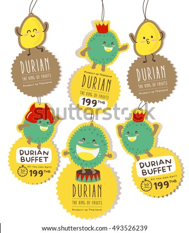 Cute Durian Hanging Tag Vector / Mascot Vector Design