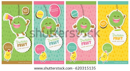 Cute Durian Vector 9 / Durian Tag labels