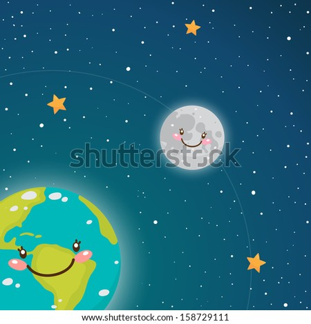 Cute Earth and Moon in space - stock vector