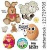 Cute Easter Bunny and Lamb Vectors. - stock vector