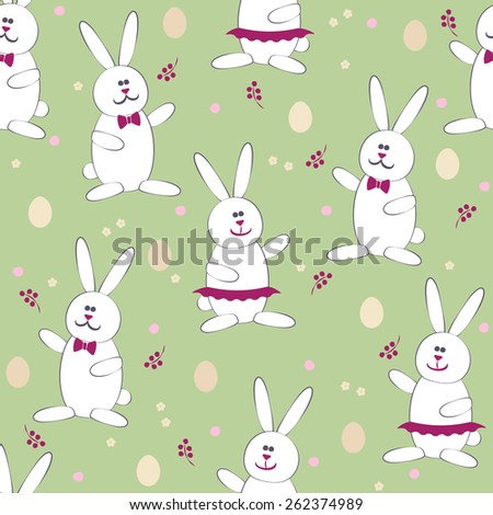 Cute Easter Bunny & Egg Hunt game seamless pattern vector background. Use for textiles, gift package decoration, web page background, surface textures, food labeling, wrapping paper. Editable. - stock vector