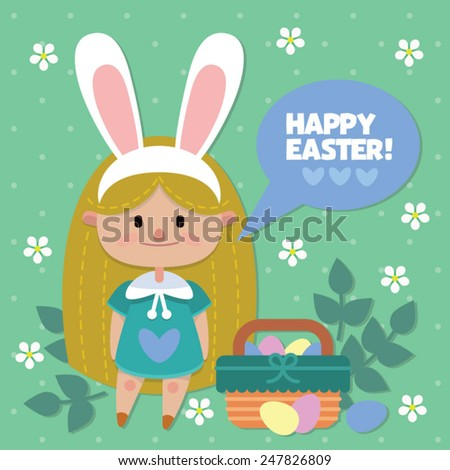 cute easter bunny girl - Happy Easter card - stock vector