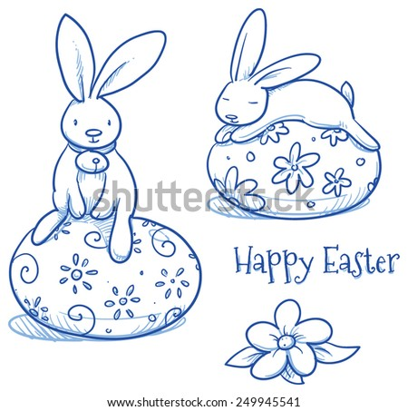 Cute Easter Bunny sleeping and sitting on easter egg, 2 versions of egg decoration, pattern. Hand drawn vector illustration. - stock vector