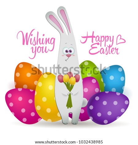 Cute easter bunny color eggs gift stock vector 1032438985 cute easter bunny with color eggs gift card vector illustration negle Choice Image