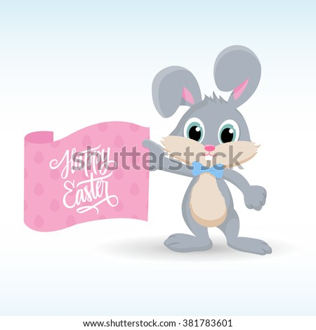 Cute easter bunny with Happy Easter greetings. Handwritten inscription Happy Easter. Happy Easter lettering. Happy Easter symbol. Vector illustration. - stock vector