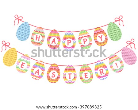 Cute Easter bunting with knitted eggs and hand written text Easter for your decoration - stock vector