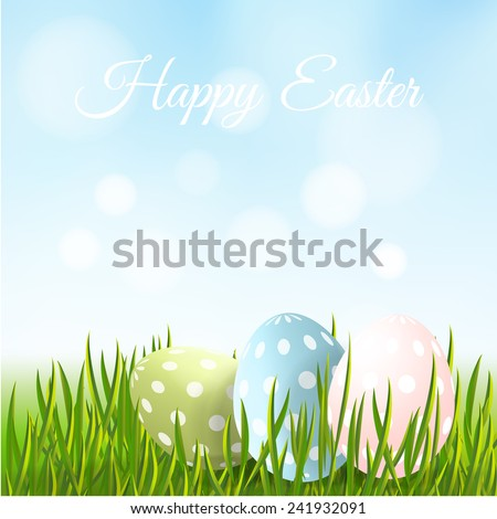 Cute easter card, dotted easter eggs hidden in the fresh green grass, vector illustration background - stock vector