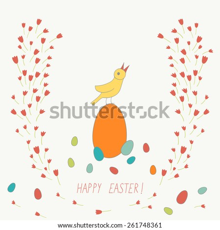 cute Easter card with bird, eggs and flowers - stock vector