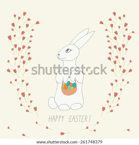 cute Easter card with bunny,eggs and flowers - stock vector