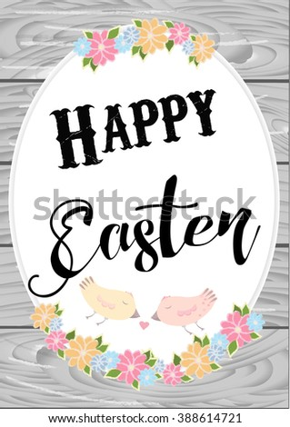 Cute easter card with wishes Happy Easter! Wooden background - stock vector