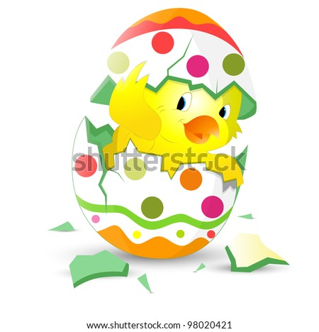 Cute Easter Chicken in Egg Shell - stock vector