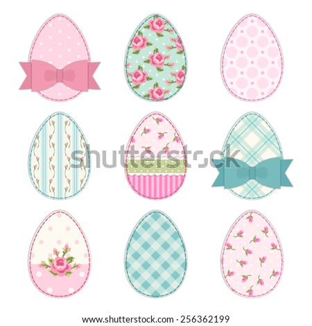 Cute Easter eggs as vintage fabric patch applique in shabby chic style - stock vector