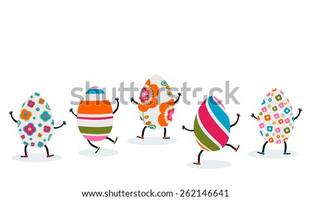 cute easter eggs playing - stock vector