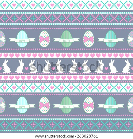 Cute Easter pattern, card. Seamless vector background with Easter Bunny, decorative eggs, hearts and bows. - stock vector