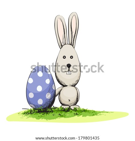 Cute easter rabbit with egg - stock vector