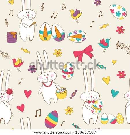 Cute Easter seamless with bunnies and eggs - stock vector