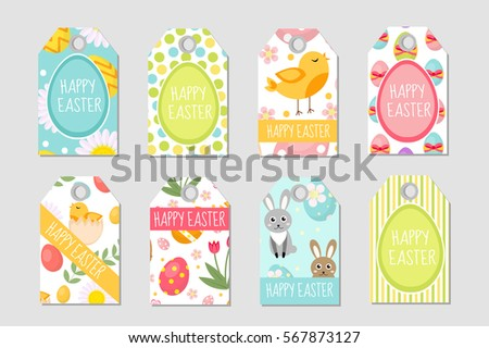 Cute easter tags set labels collection stock vector 567873127 cute easter tags set labels collection with easter rabbit eggs and flowers spring negle Image collections