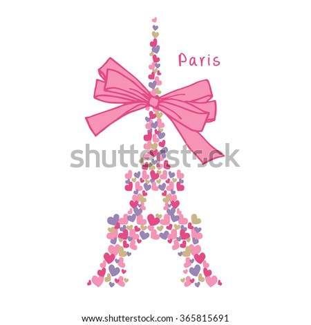 Cute Eiffel Tower Stock Vector 365815691