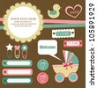 cute elements for baby scrapbook. vector illustration - stock vector