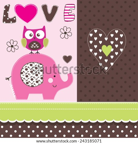 cute elephant and owl love card vector illustration - stock vector