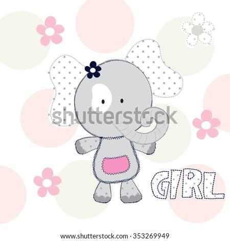 cute elephant baby girl vector illustration - stock vector