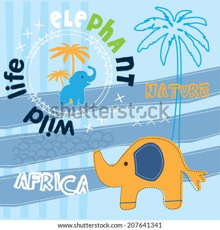 cute elephant card vector illustration - stock vector