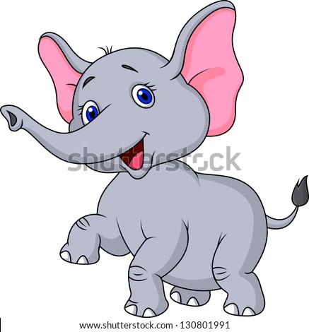 Cute elephant cartoon - stock vector