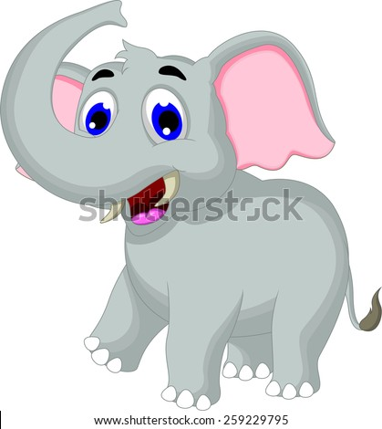 Cute elephant cartoon for you design - stock vector