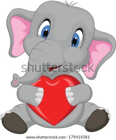 Cute elephant cartoon holding red heart - stock vector