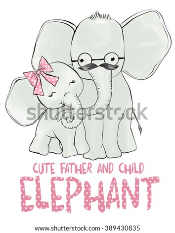 cute elephant child and father - stock vector