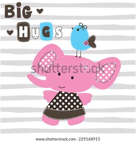 cute elephant girl wit bird vector illustration - stock vector