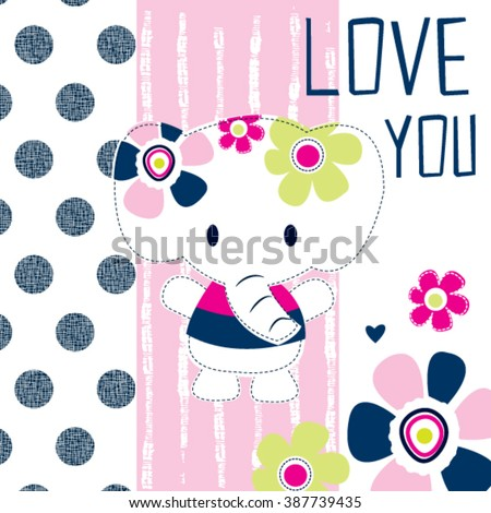 cute elephant girl with flower on polka dots and striped background vector illustration - stock vector