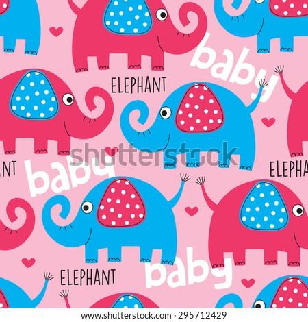 cute elephant pattern vector illustration - stock vector