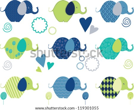 cute elephant seamless clipart - stock vector