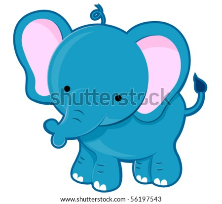Cute Elephant - Vector - stock vector