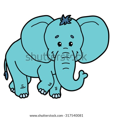 Cute elephant. Vector illustration of cute cartoon elephant character for children and scrap book - stock vector