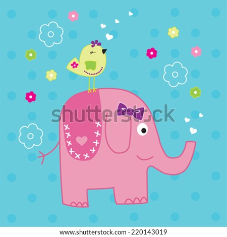cute elephant with bird vector illustration - stock vector