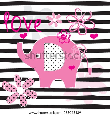 cute elephant with flowers, striped background vector illustration - stock vector