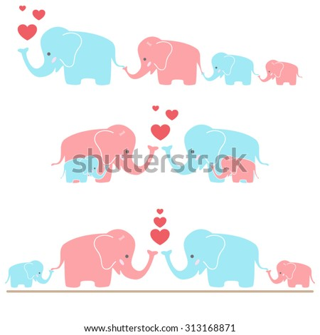 Cute Elephants - stock vector