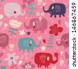 Cute elephants in flowers. Bright childish card in vector. Seamless pattern can be used for wallpaper, pattern fills, web page background, surface textures. - stock vector
