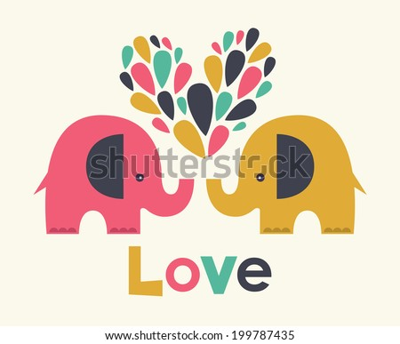cute elephants in love. vector illustration - stock vector